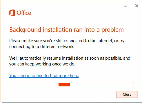 Office background installation ran into a problem