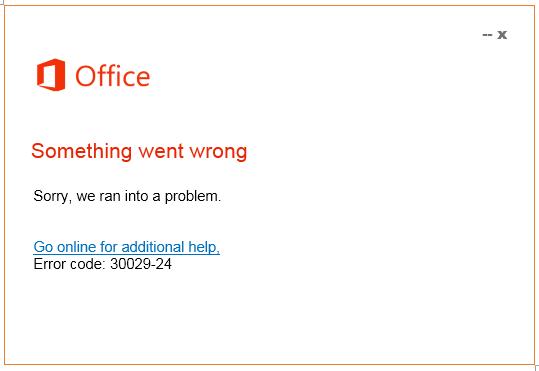 office error code 30029-24