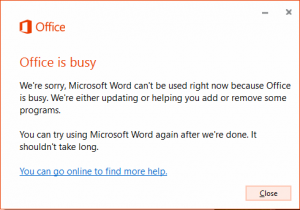 Office busy error in office 2010